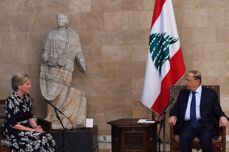 La comtesse Sophie de Wessex avec le président du Liban à Beyrouth, le 13 juin 2019