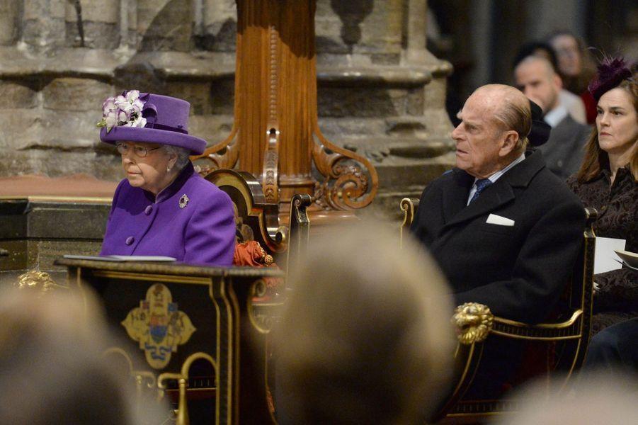 La reine Elizabeth II et le prince Philip à l'Abbaye de Westminster à Londres, le 24 novembre 2016