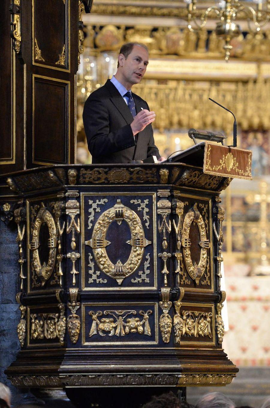 Le prince Edward à l'Abbaye de Westminster à Londres, le 24 novembre 2016