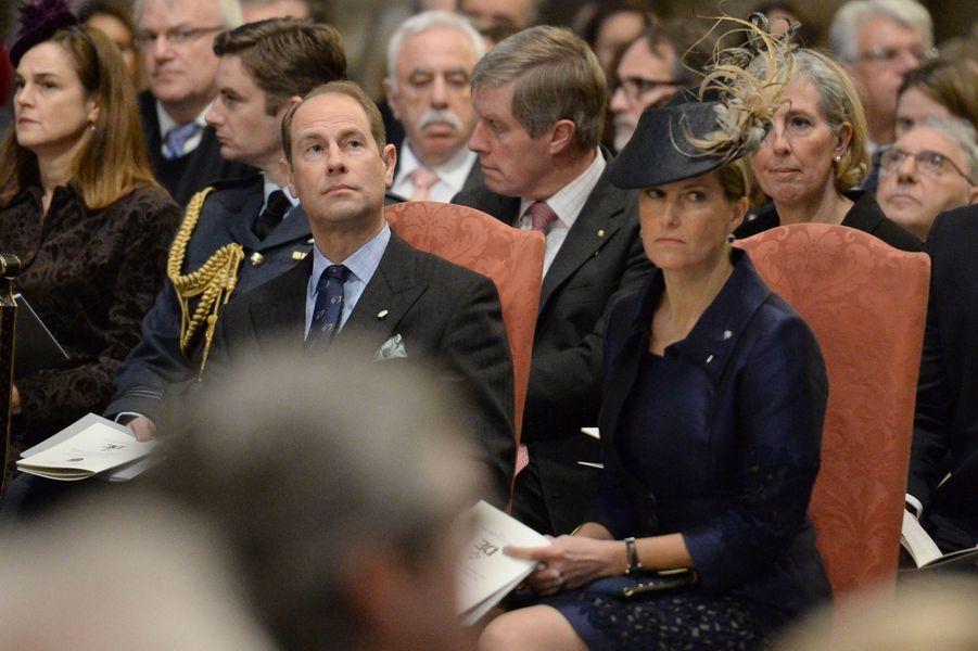 Sophie Wessex et le prince Edward à l'Abbaye de Westminster à Londres, le 24 novembre 2016