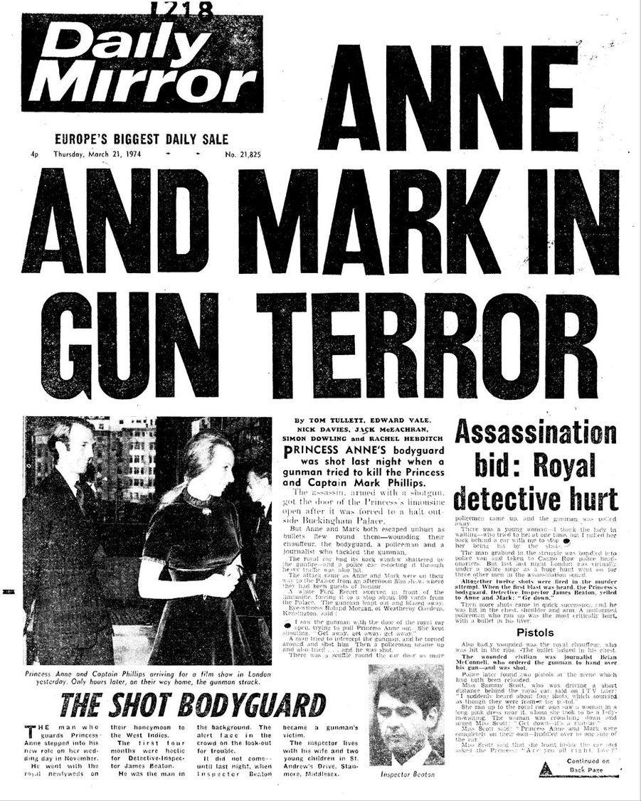 La une du Daily Mirror du 21 mars 1974