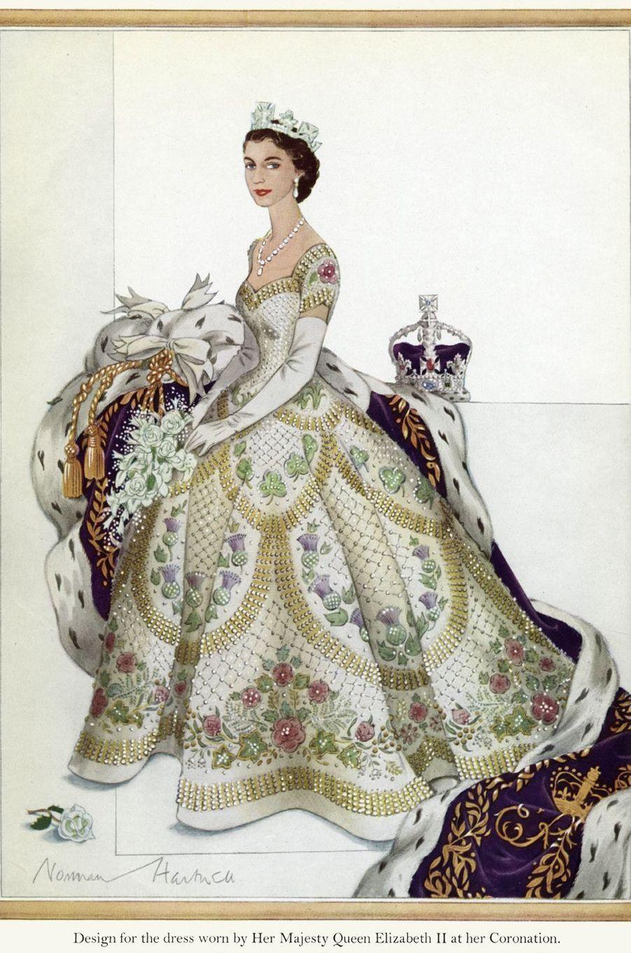 Le modèle choisi par Elizabeth II pour la robe de son couronnement le 2 juin 1953