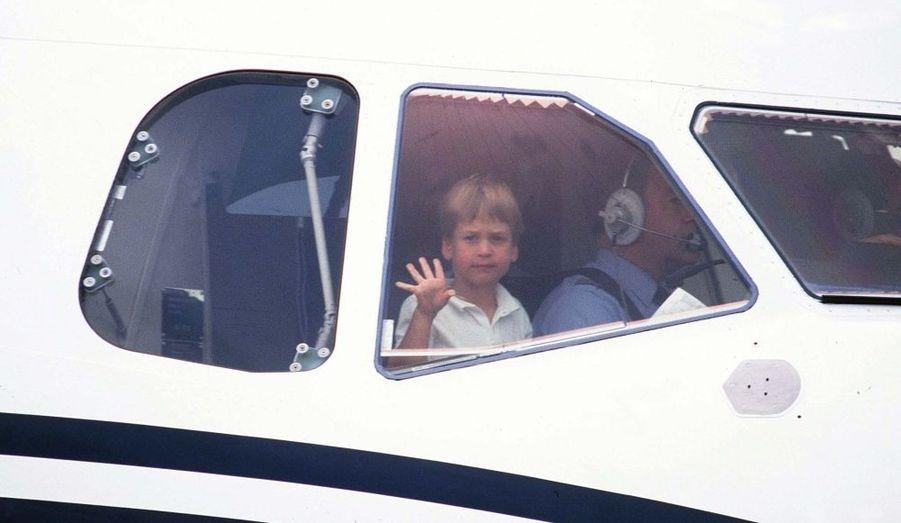 1987 - William, déjà en hélicoptère, en août à Aberdeen