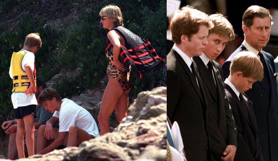Première photo : Diana, William et Harry lors de vacances à St Tropez, le 14 juillet 1997, un mois et demi avant le tragique accident de Diana. Deuxième photo : lors des funérailles nationales.