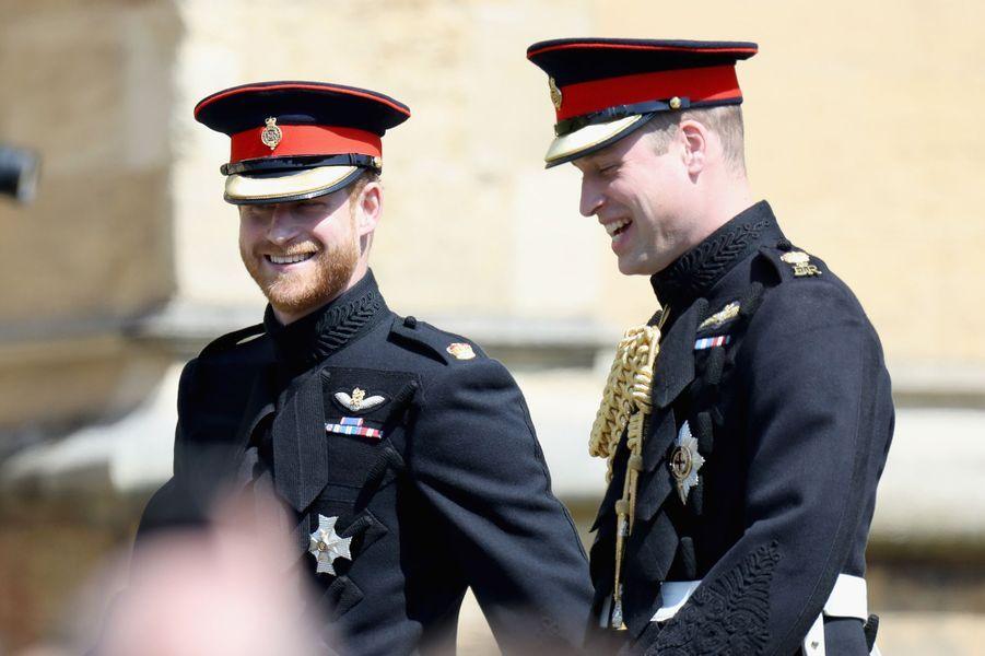 Le prince Harry et le prince William lors du mariage du duc de Sussex en mai 2018