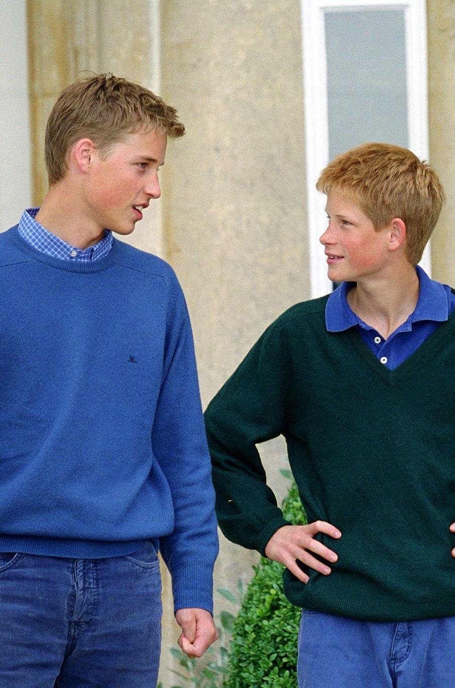 Le prince William et le prince HarryàHighgrove House en juillet 1999