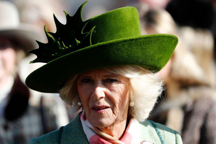 La duchesse de Cornouailles Camilla au Cheltenham Festival, le 15 mars 2017