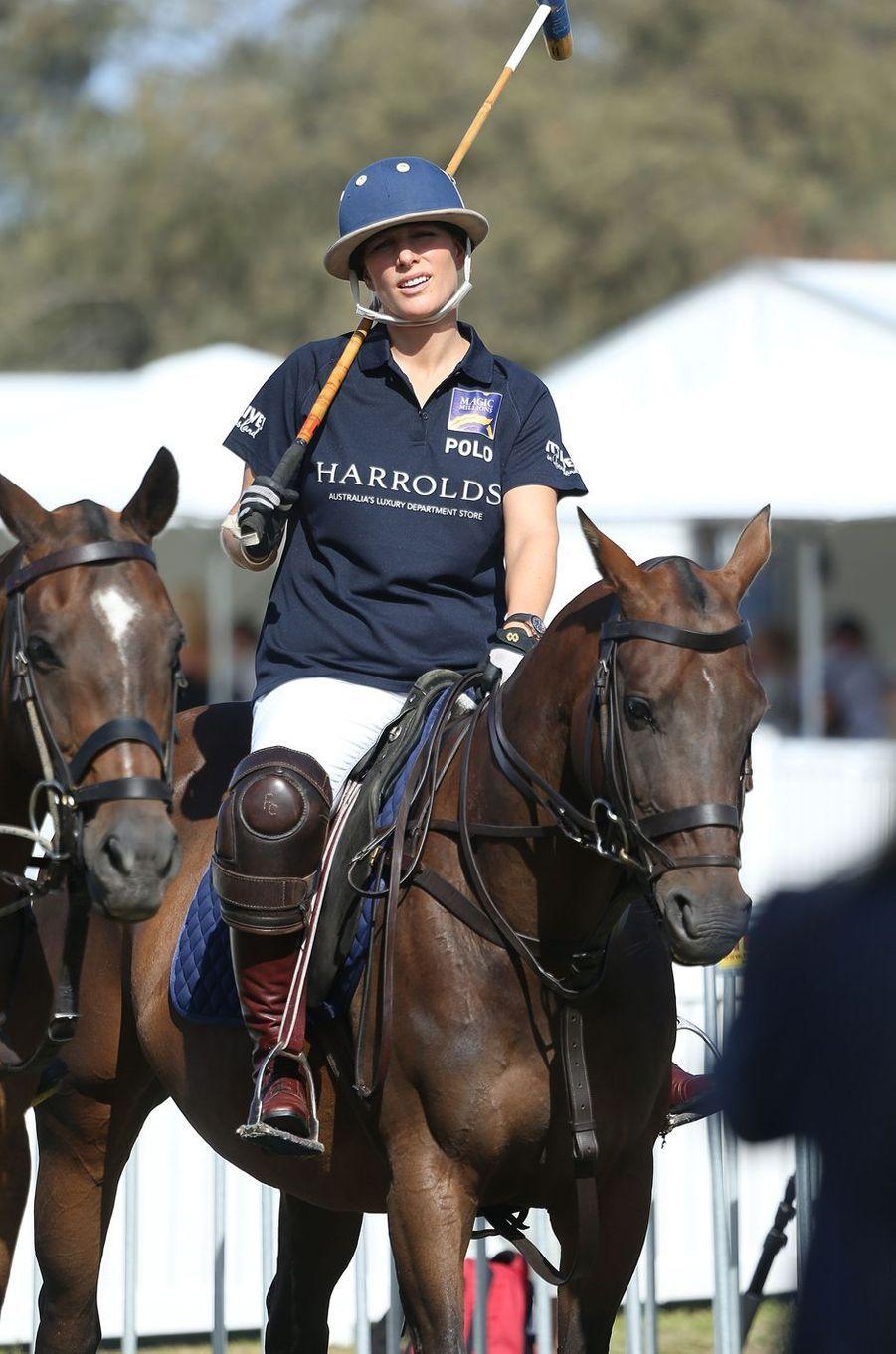 Zara Phillips participe à un match de polo en Australie, le 8 janvier 2017