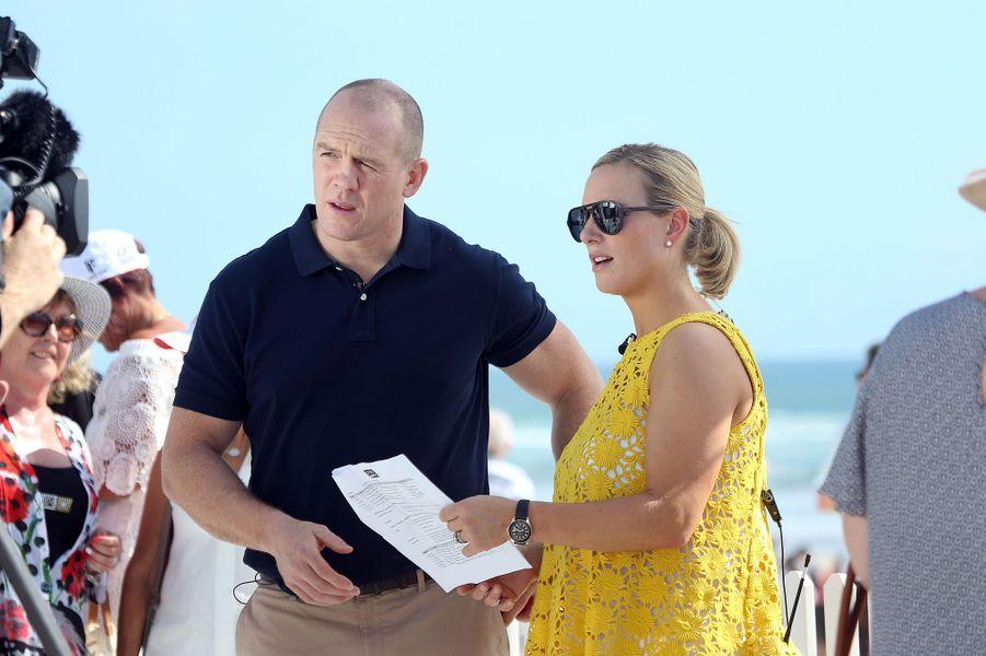 Zara Phillips et son mari Mike Tindall en Australie, le 10 janvier 2017