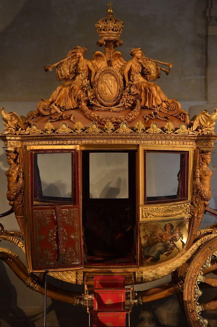 Détail du carrosse du sacre de Charles X conservé à Versailles