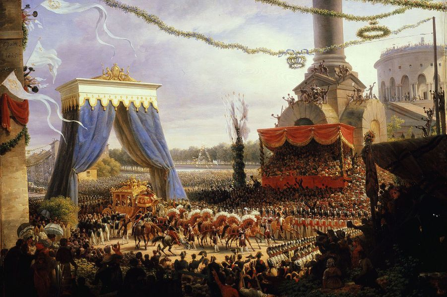 L'entrée de Charles X dans Paris après son sacre, le 6 juin 1825, peinture d'Innocent-Louis Goubaud (détail)