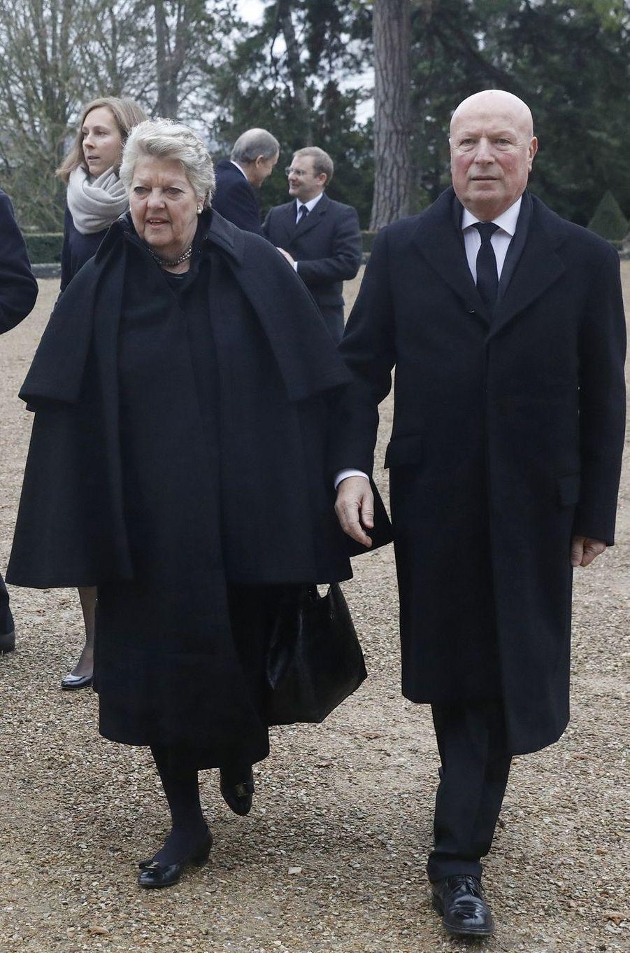La princesse Chantal d'Orléans (tante du défunt) et son mari le baron François-Xavier de Sambucy de Sorgue, à Dreux le 6 janvier 2018