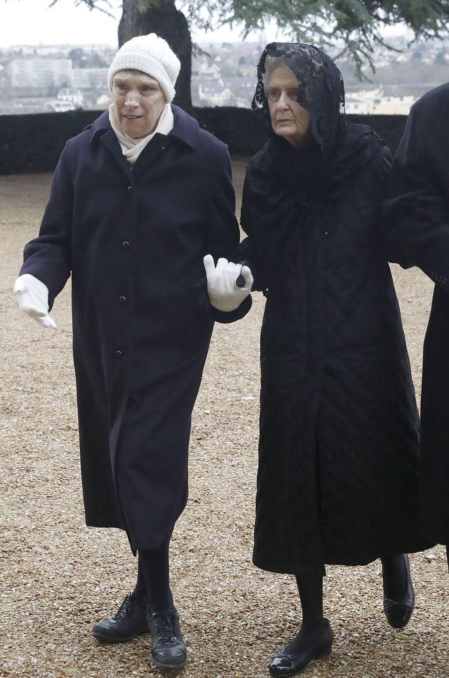 La princesse Blanche d'Orléans et sa mère la duchesse de Montpensier, soeur et mère du prince François, à Dreux le 6 janvier 2018