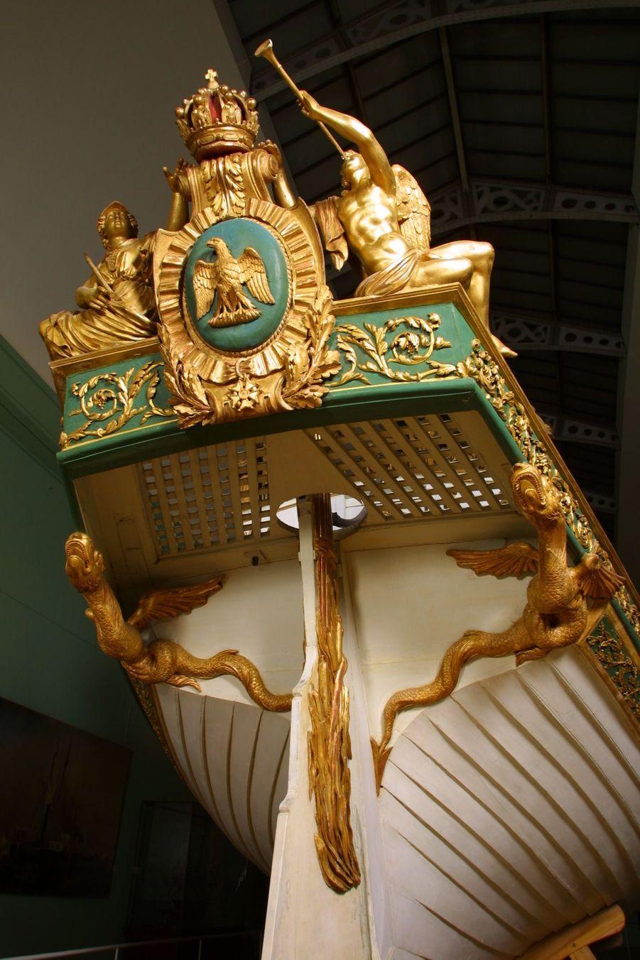 Détail du canot de Napoléon Ier au musée de la Marine à Paris