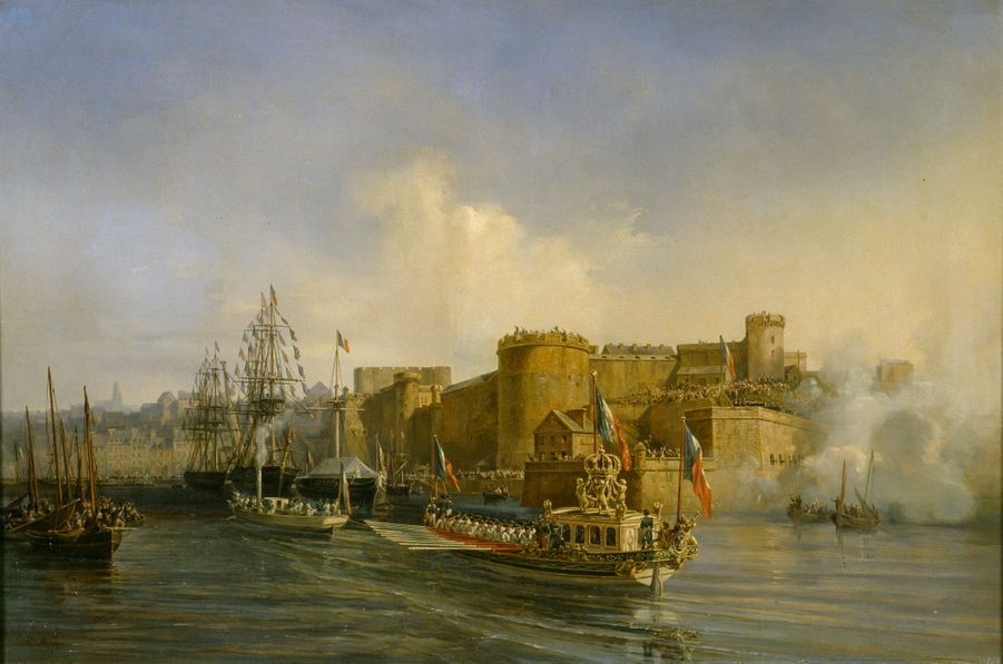 Visite de Napoléon III à Brest, 11 août 1858, par Auguste Mayer - 1859. Au premier plan, le canot de Napoléon Ier