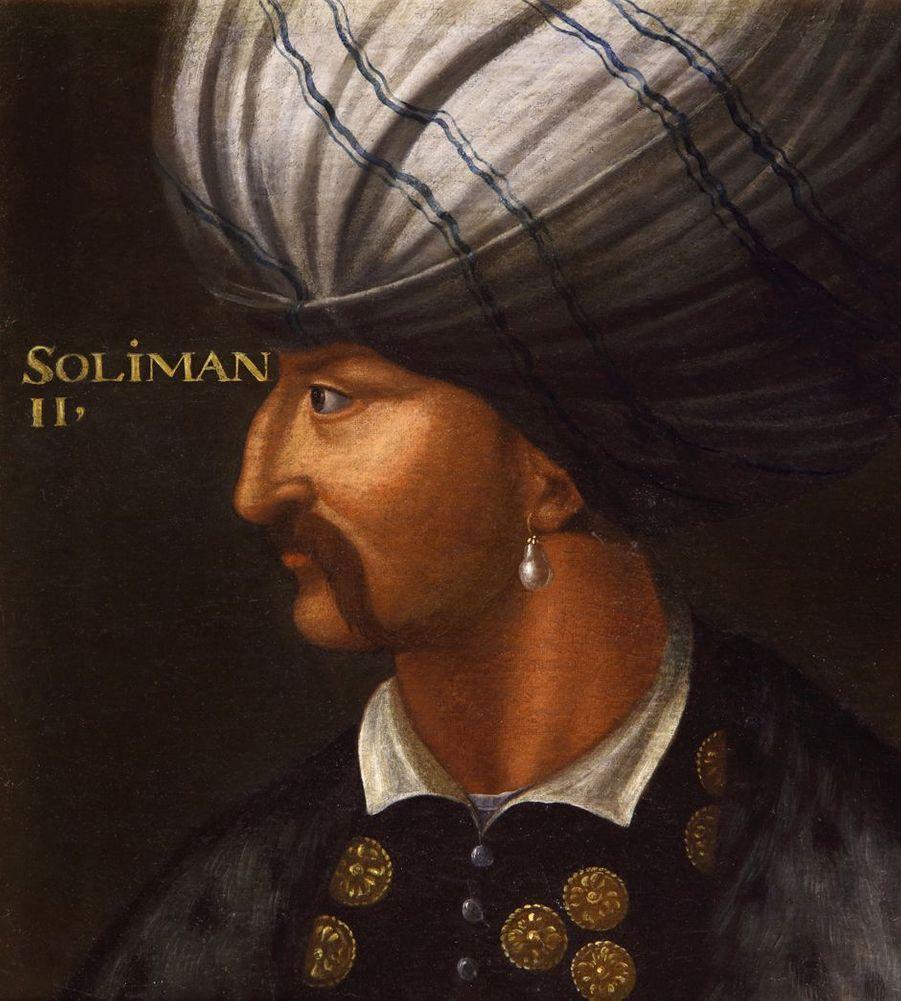 Portrait du sultan turc Soliman le Magnifique dans la galerie des Illustres du château de Beauregard, dans le Loir-et-Cher, le 11 novembre 2019