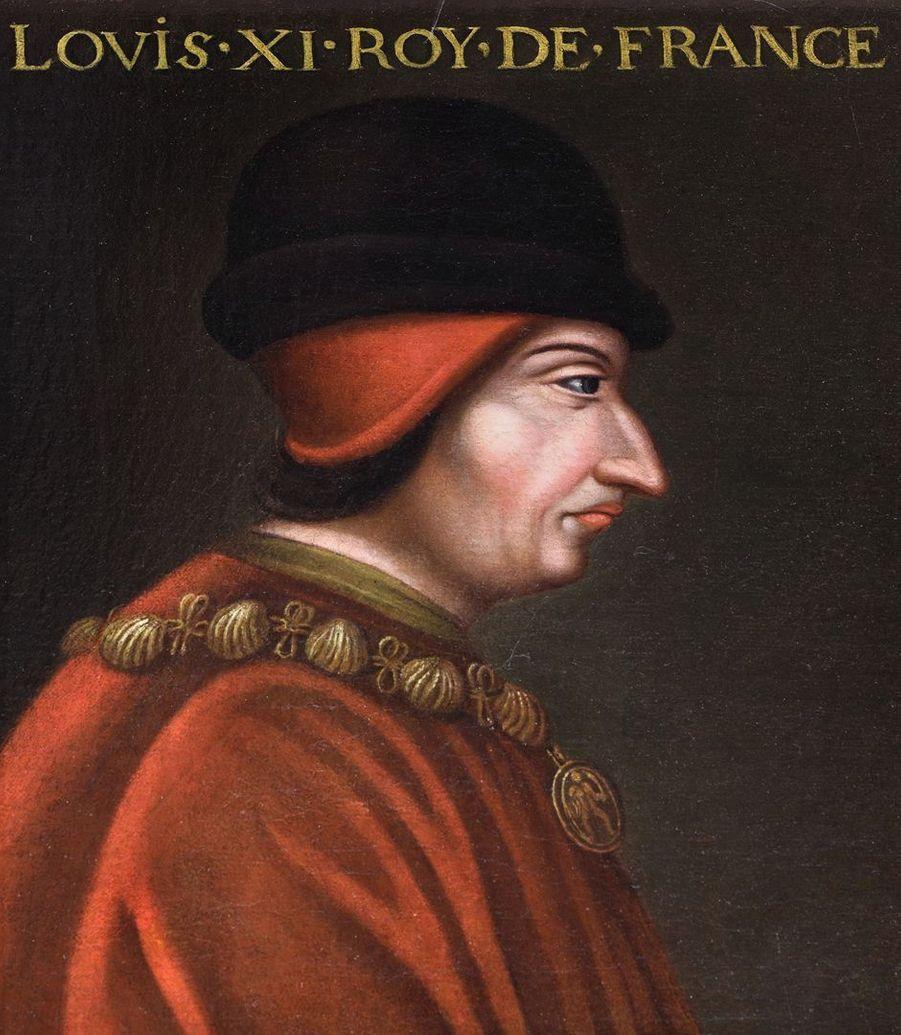 Portrait du roi de France Louis XI dans la galerie des Illustres du château de Beauregard, dans le Loir-et-Cher, le 16 décembre 2019