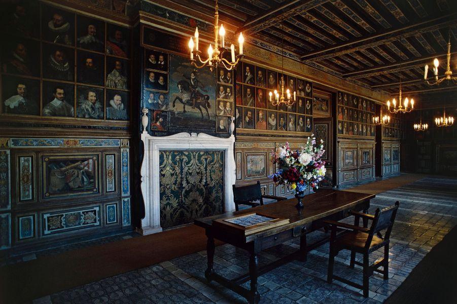 La galerie des Illustres du château de Beauregard, dans le Loir-et-Cher, le 8 août 2016