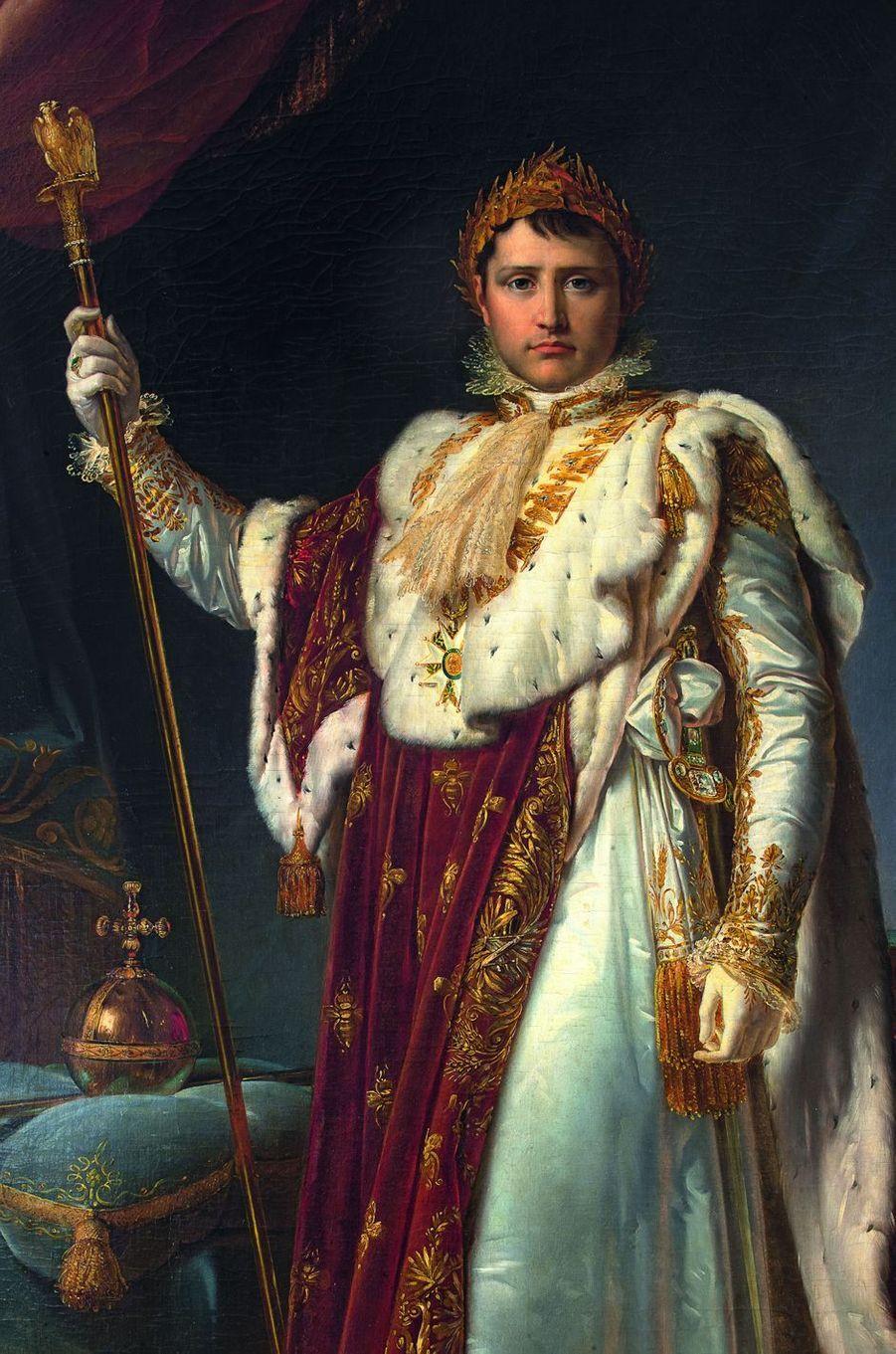Détail du portrait de l'Empereur en costume de sacre, atelier de Gérard. Musée Napoléon Ier au château de Fontainebleau