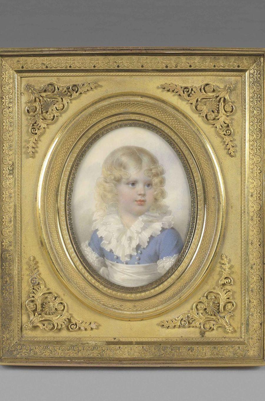Portrait du roi de Rome, miniature sur ivoire. Musée Napoléon Ier au château de Fontainebleau
