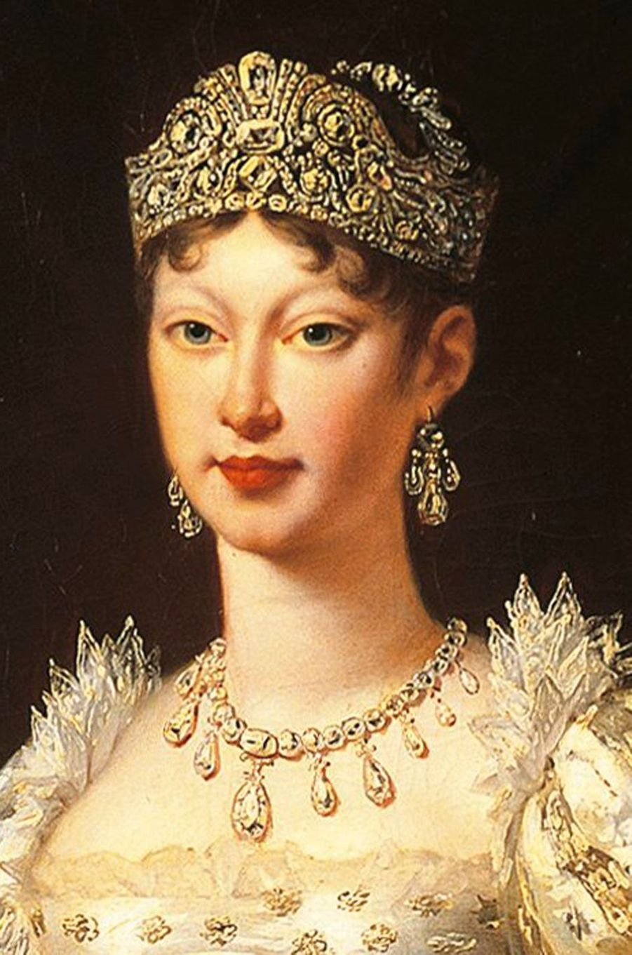 Détail du portrait de l'impératrice Marie-Louise, par Robert Lefèvre