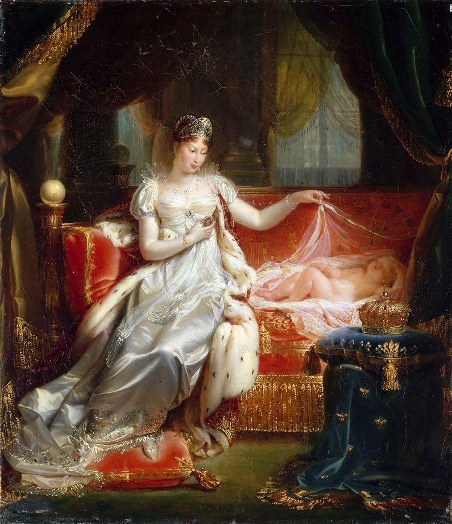 Portrait de l'impératrice Marie-Louise avec son fils, le roi de Rome, par Joseph Boniface Franque (Château de Versailles)