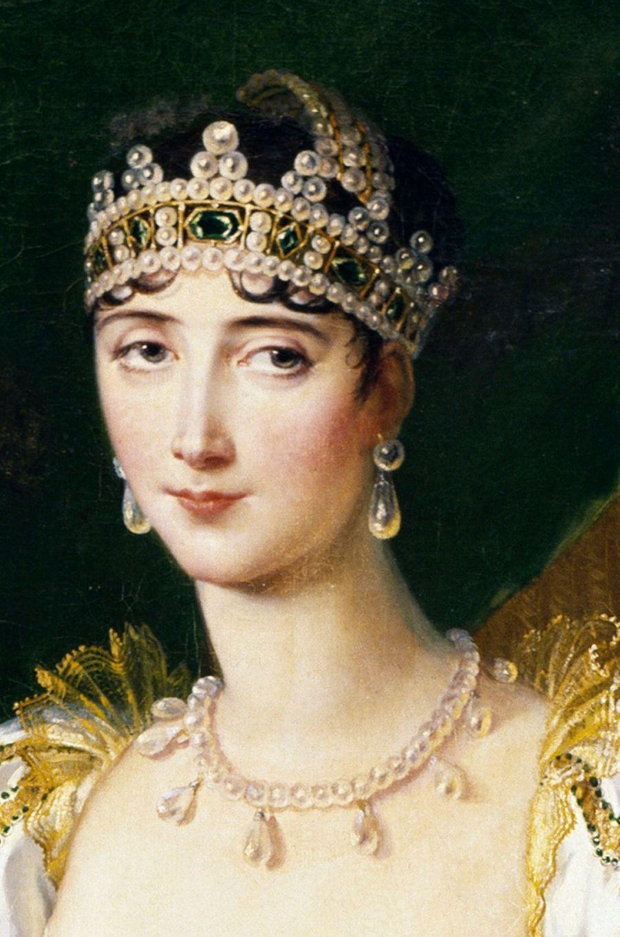Détail du portrait de Pauline Bonaparte par Marie-Guillemine de Laville Leroux Benoist, 1808 (Musée du château de Fontainebleau)