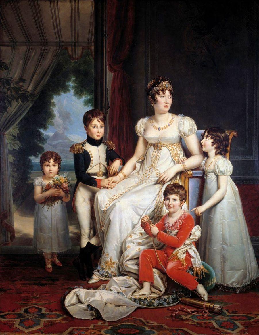 Portrait de Caroline Bonaparte avec ses enfants par François Gérard (Château de Fontainebleau)