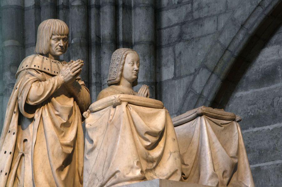 Détail du mausolée d'Anne de Bretagne (morte en 1514) et Louis XII, dans la basilique Saint-Denis