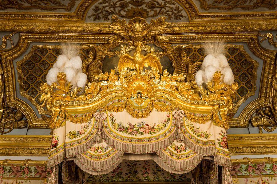 La chambre de la Reine au château de Versailles, restaurée, le 17 avril 2019