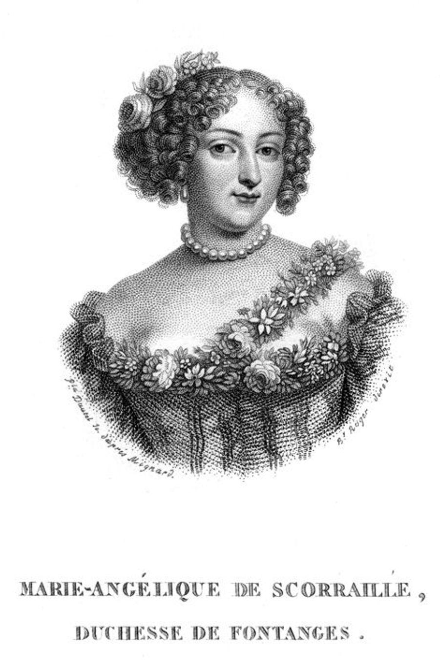 La duchesse de Fontanges (1661-1681), l'une de ses favoritesMarie-Angélique de Scorraille de Roussille, duchesse de Fontanges, née en juillet 1661, n'a que 17 ans quand elle arrive à la cour. Sa grande beauté donne une idée à Madame de Montespan, alors favorite en titre de Louis XIV. Pour détourner le roi de Madame de Maintenon qu'elle considère –à juste titre- comme une sérieuse rivale, Athénaïs met dans les bras du souverain, alors âgé de 40 ans, la toute jeune Marie-Angélique. Seul hic, cela marche trop bien, le roi Soleil tombant fou amoureux de sa nouvelle maîtresse au grand désarroi de l'instigatrice de leur rapprochement. Leur idylle ne sera cependant que de courte durée, le roi s'étant lassé dit-on de la demoiselle, en raison de son manque d'esprit.Retirée à l'abbaye de Chelles, la duchesse de Fontanges y meurt le 28 juin 1681, juste avant son 20e anniversaire.