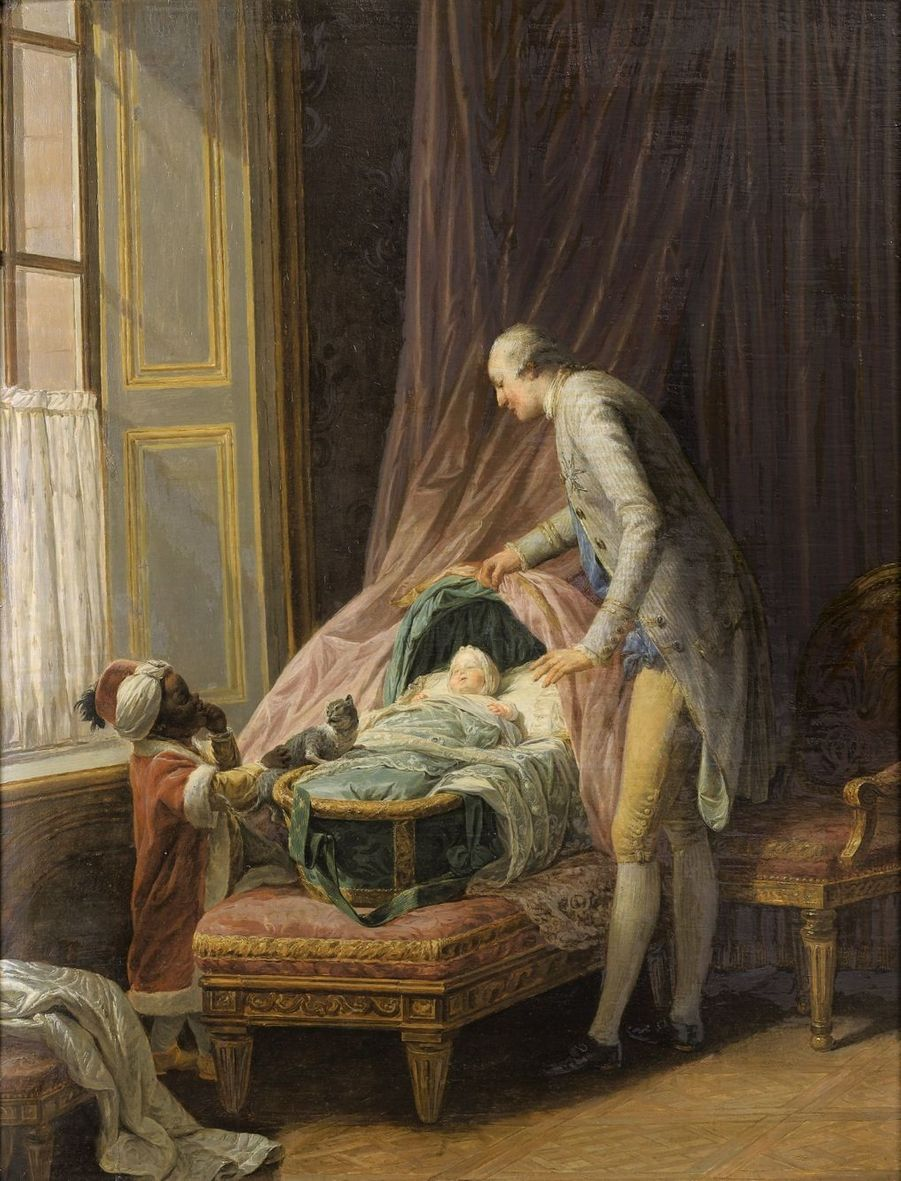 Lot 11 - Nicolas-Bernard Lépicié Louis-Philippe, duc de Valois, au berceau, 1774 Huile sur panneau 54,5 x 41 cm Estimation : 150.000 – 200.000...