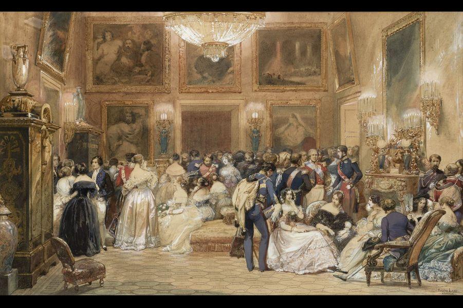 Lot 28 - Eugène-Louis Lami Une soirée chez le duc d'Orléans, 1843 Aquarelle avec rehauts de gouache sur papier 35 x 57,2cm Estimation : 15.000...
