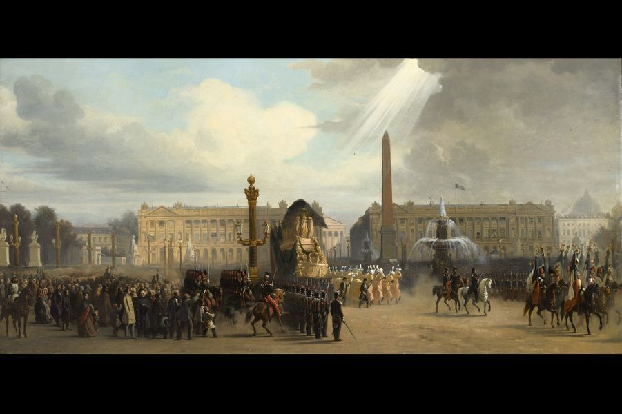Lot 35 - Jacques Guiaud Le retour des cendres de Napoléon, passage du cortège place de la Concorde Huile sur sa toile d'origine 81x165 cm Es...