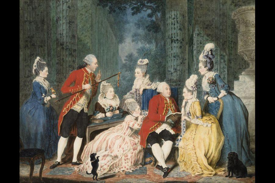 """Lot 7 - Louis Carrogis dit Carmontelle """"La Société du Palais Royal, vers 1773-1775"""" Sanguine, pierre noire, aquarelle, gouache rehaussées de cr..."""