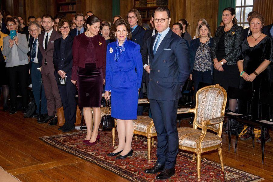 La princesse Victoria, la reine Silvia et le prince consort Daniel de Suède à Stockholm, le 26 janvier 2018