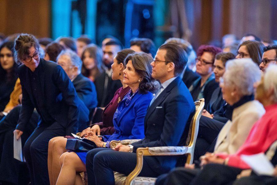 La reine Silvia et le prince consort Daniel de Suède à Stockholm, le 26 janvier 2018
