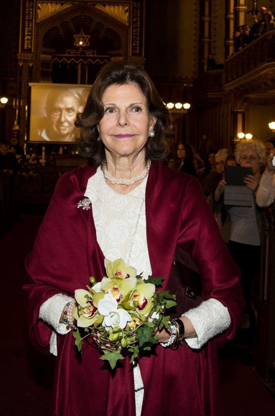 La reine Silvia de Suède à Stockholm, le 27 janvier 2018