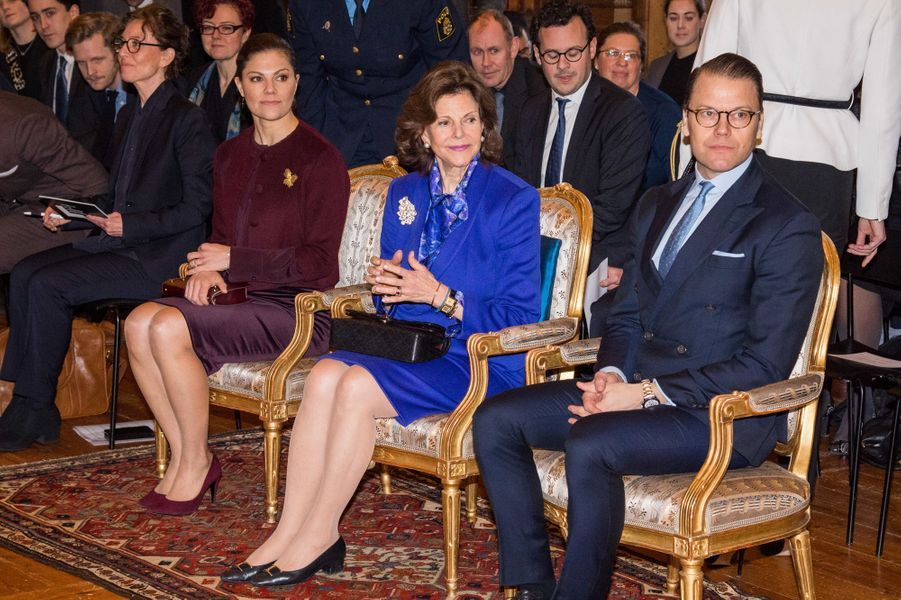 La princesse Victoria, la reine Silvia et le prince Daniel de Suède à Stockholm, le 26 janvier 2018