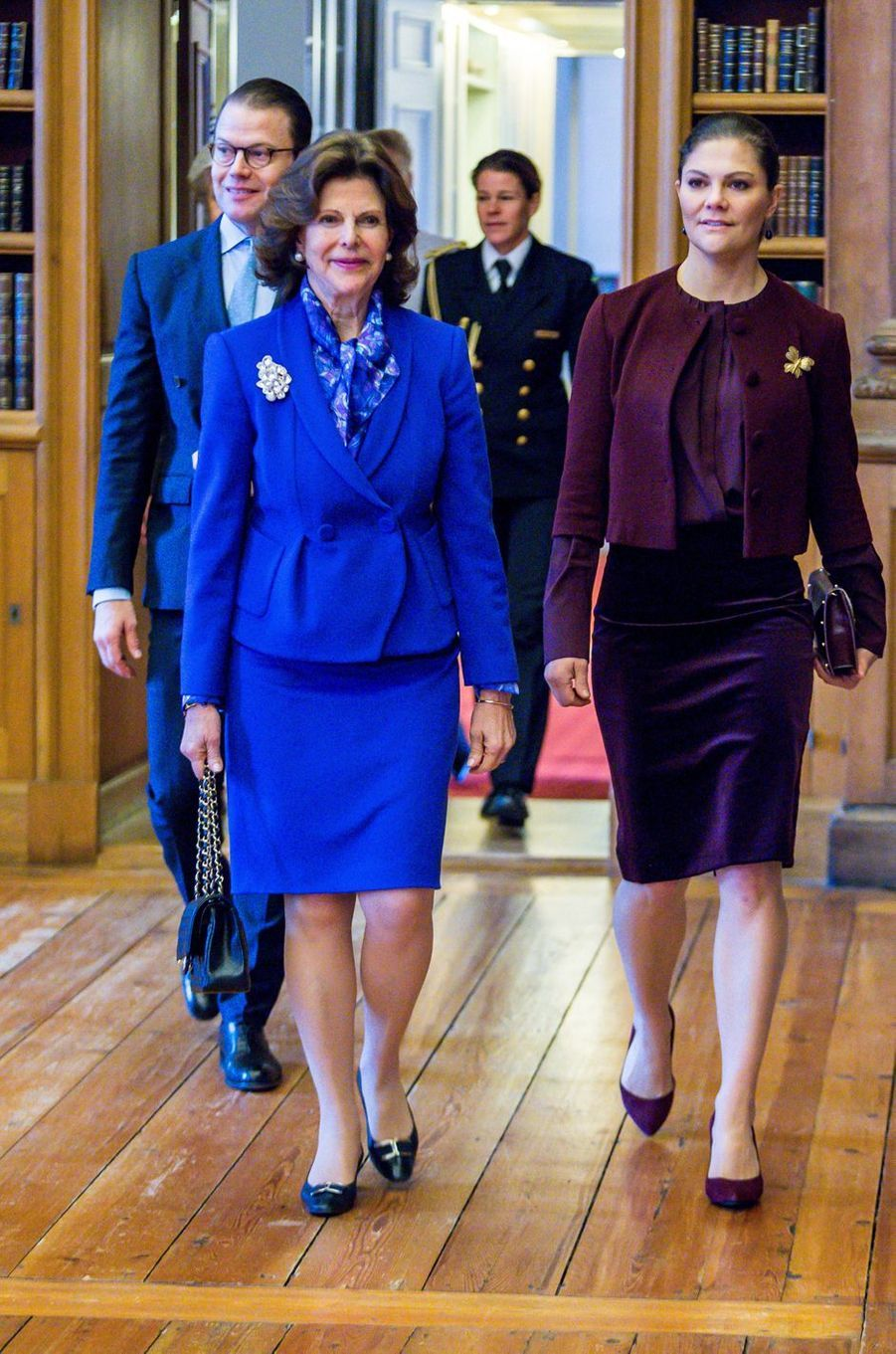 Le prince consort Daniel, la reine Silvia et la princesse Victoria de Suède à Stockholm, le 26 janvier 2018