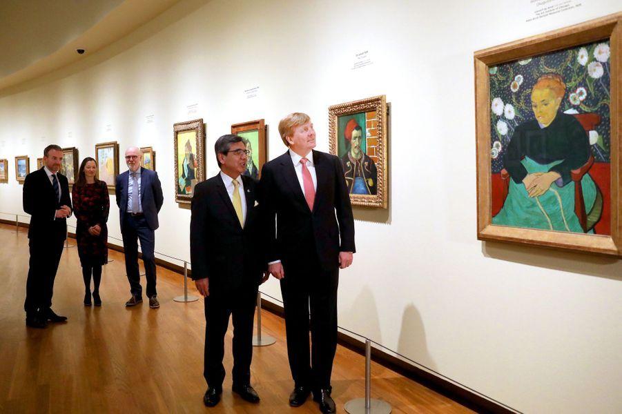 Le roi Willem-Alexander des Pays-Bas au musée Van Gogh à Amsterdam, le 22 mars 2018