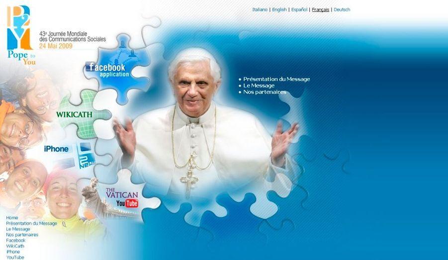 Déjà présent sur Youtube et Twitter, le pape Benoit XVI vient cette fois de lancer un nouveau site Internet dédié aux jeunes: pope2you. «Jeunes en particulier, j'en appelle à vous: portez témoignage de votre foi par le monde numérique !», a appelé le souverain pontife à la fin de l'audience générale, place Saint Pierre, à l'occasion de la Journée mondiale des communications sociales célébrée dimanche dernier. Le Vatican entend ainsi utiliser les nouvelles technologies de communication pour échanger de manière plus ciblée avec les jeunes.