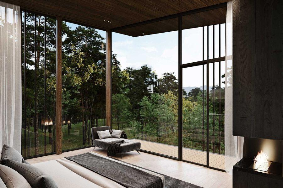 """Vue d'artiste de la villa """"Sylvan Rock"""", designée par S3 Architecture et Aston Martin."""