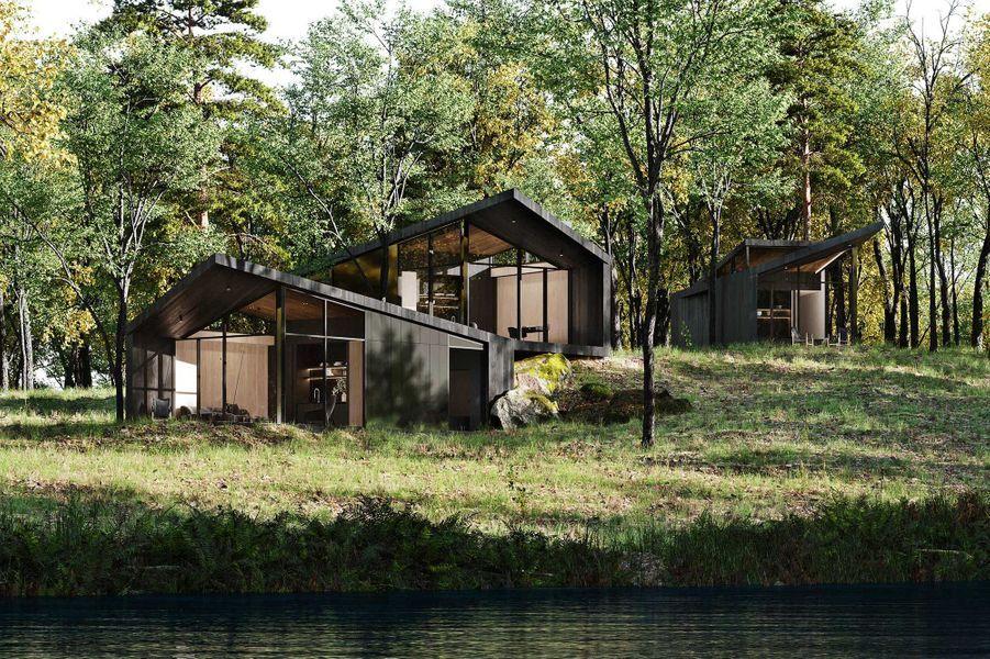 """Vue d'artiste de la villa """"Sylvan Rock"""", designée parS3 Architecture et Aston Martin."""