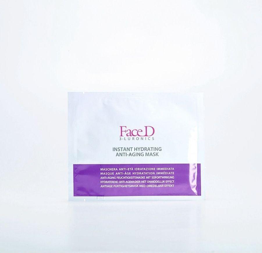 Tout miser sur l'acide hyaluronique pour repulper la peau. FaceD 3-Luronics, masque anti-âge hydratation immédiate, les cinq, 19,90 €. (Web Sephora)