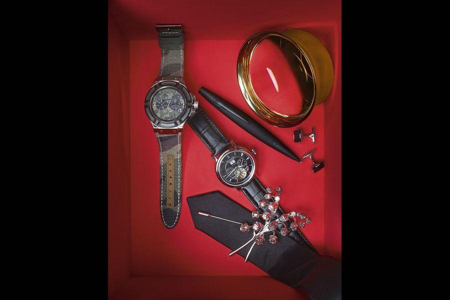 756f8398c2 Montre militaire en acier brossé poli, lunettes en acier noirci, cadran  camouflage