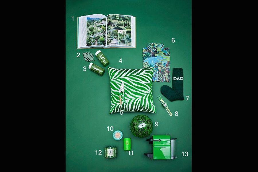 1. Livre « Jardins de jardiniers », 480 pages et 1 200 illustrations, Phaidon, 65 €. 2. Broche feuille de caoutchouc géante brodée à la main en cannetille, Macon&Lesquoy, 120 €. 3. Cure d'initiation de 1 à 3 jours de 6 jus bio, Dietox, de 53 € à 138 €. 4. Coussin Kota en lin rebrodé, 45 x 45, Iosis, 76 €. 5. Sécateur Vert 3 positions pour s'adapter au diamètre des branches et à la taille de la main, Opinel, 49,90 €. 6. Chemise Super Jungle en coton imprimé, de l'artiste G. Kero, G. Kero, 140 €. 7. Chaussettes de ski à motifs jacquard DAD Ron Dorf, 26 €. 8. La montre Touch Zero One a été créée pour les sportifs connectés. Elle compte les pas, les calories, la distance parcourue, la force et le nombre de frappes (pour le golf, basket, hand, tennis, etc.) ainsi que celui d'applaudissements lors d'un concert. Etanche à 30 m et affichage analogique, Swatch, 120 €. 9. Ballon Lotto Zhero Gravity, Lotto, 15 €. 10. Eau de toilette Pamplemousse Rhubarbe, 75 ml, imaginée par Pierre Hermé pour L'Occitane, éd. limitée, L'Occitane, 55 €. 11. Thé vert aux épices festives Noël nouveau, en éd. limitée, 90 g, Mariage Frères, 26 €. 12. Grande Bougie Roasted Chesnut, qui exhale l'odeur des châtaignes sur le feu, Jo Malone, 155 €. 13. Machine à café compacte Inissia automatique, Nespresso, 0,7 l, 99 €.