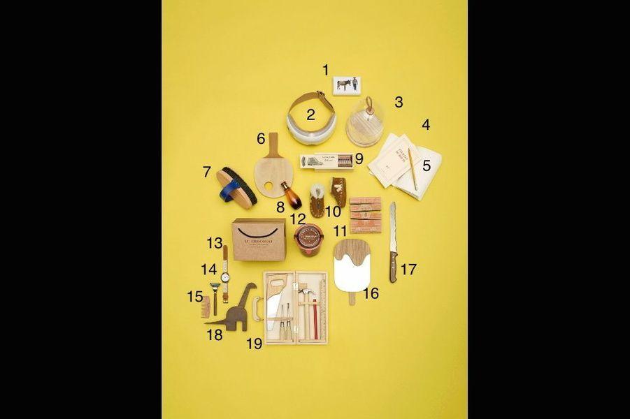 1. Savon de lait d'ânesse, The Conran Shop, 8,95 €. 2. Masque de relaxation iSee4, Nature & Découvertes, 129,90 €. 3. Cloche Ivalo LSA chez Design.it, 49,90 €. 4. Ligne de papeterie qui rend hommage à l'écriture en reprenant les titres de la collection Blanche. Gallimard, Carnet 8,90 € et grand cahier, 30 €. 5. Crayon à papier Virgin Pencil, Fine&Candy, 15 € les 12. 6. Coquetier Ping-Pong en bouleau 26 cm, Pied de Poule, 19,90 €. 7. Brosse douce en hêtre et poils noirs en soie de porcpour les cavaliers chics, Hermès, 94 €. 8. So Elixir Bois sensuel, précieux sillage à l'iris, patchouli, vanille, 50 ml, Yves Rocher, 57 €. 9. Kit de cirage avec brosse à spatule et à reluire, Andrée Jardin x Clotaire, 18 €. 10. Mocassins en cuir fourrés adaptés aux pieds des plus petits, Veja chez WOMB, 49 €. 11. Puzzle premier âge en bois illustré par Claire Lavoisier, Les Jouets libres, 19,50 €. 12. Pâte à tartiner 550 g, La Manufacture de Chocolat, Alain Ducasse, 30 €. 13. Montre, Antik Batik x LouisPion, à partir de 149 €. 14. Rasoir Caliquo compatible avec les lames Gillette Mach, Wooden Trotter, 65 €. 15. Peigne à barbe Big Red 9, 100 % recyclable, Daandi, 29 €. 16. Miroir Esquimau d'April Eleven en contreplaqué de chêne, Smallable, 49 €. 17. Couteau à pain avec décor mont Blanc en acier inoxydable et palissandre, Panorama Knife, 89 €. 18. Dinosaure Diplo, objet de décoration en noyer, Coming B, 43,75 €. 19. Mallette à outils Les Jouets d'Hier en bois, Moulin Roty, 27,90 €.