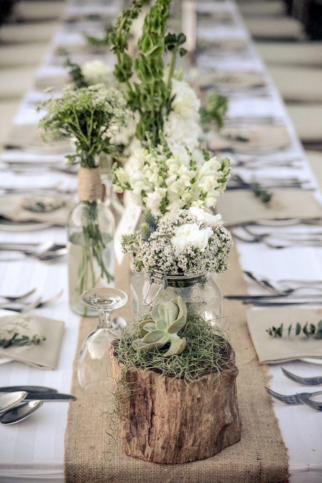 Une décoration de table champêtrehttps://www.pinterest.fr/pin/562316703459501895/