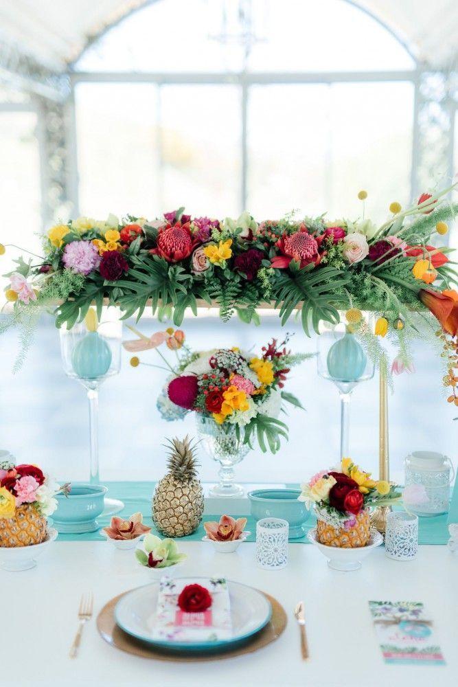 Une décoration de table tropicalehttps://www.pinterest.fr/pin/201043570845947448/